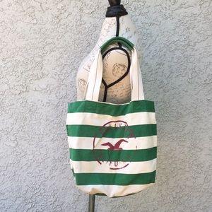 Hollister Green White Striped Beach 🏝 Tote Bag